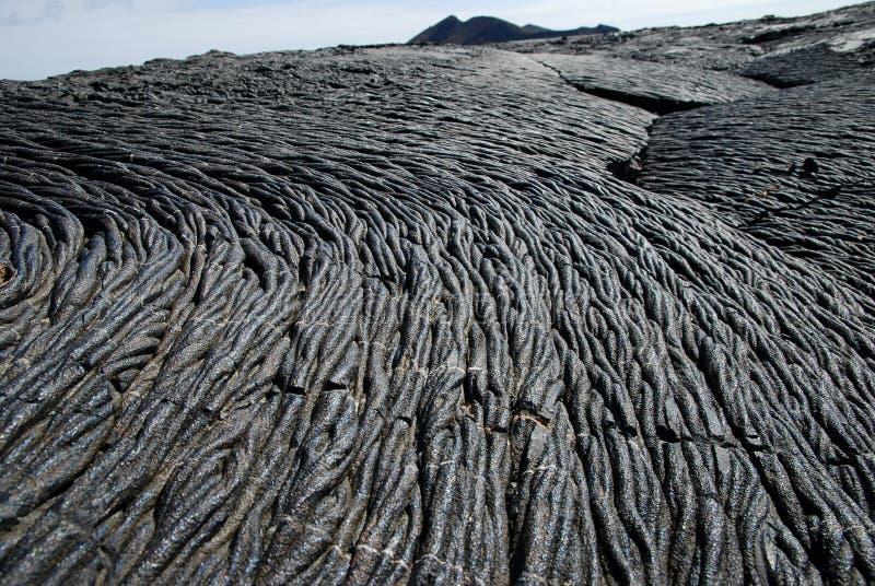 Lavafelder auf Galapagos-Inseln stockfotos