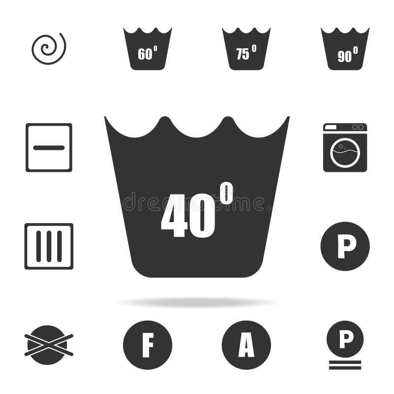 lavage de machine à 40 degrés d'icône Ensemble détaillé d'icônes de blanchisserie Conception graphique de qualité de la meilleure illustration de vecteur