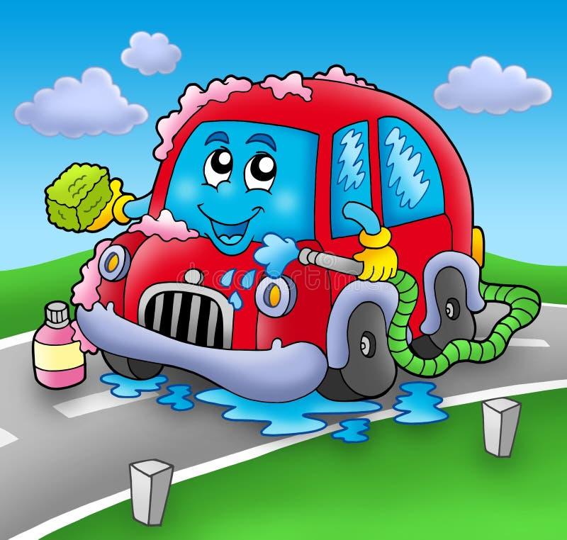 Lavage de voiture de dessin animé sur la route illustration stock
