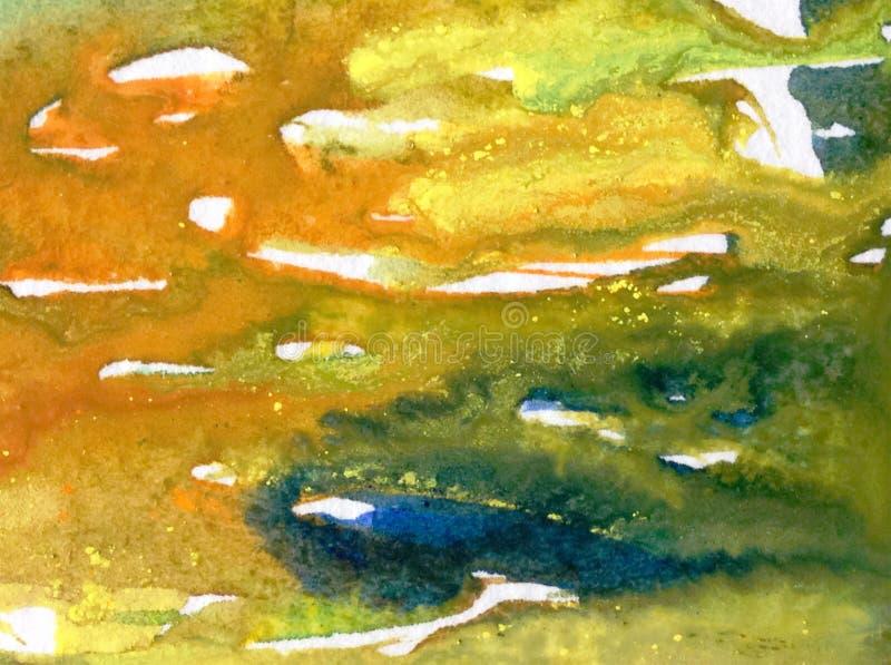 Lavage humide texturisé coloré de belle surface d'algue d'abrégé sur fond d'art d'aquarelle brouillé photos libres de droits