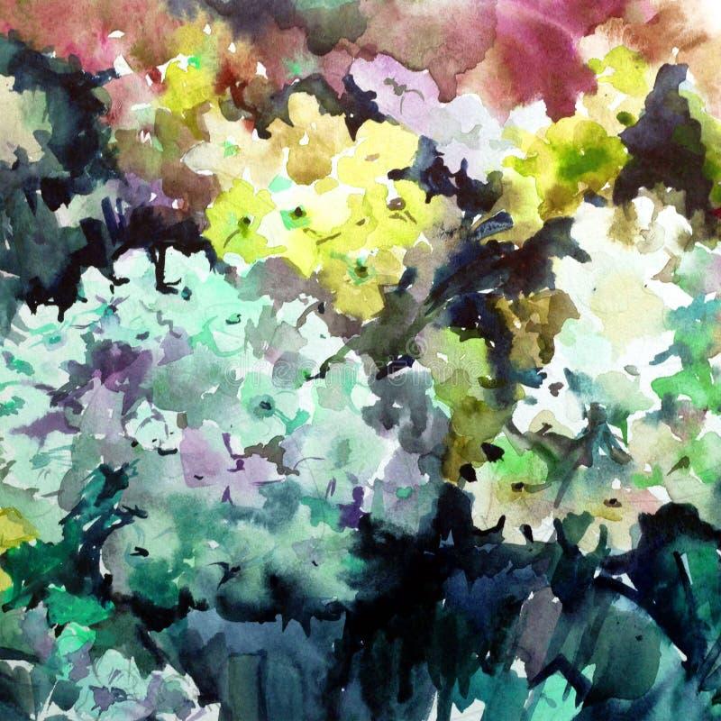 Lavage humide texturisé coloré extérieur romantique lilas de belle fleur florale d'abrégé sur fond d'art d'aquarelle brouillé illustration stock