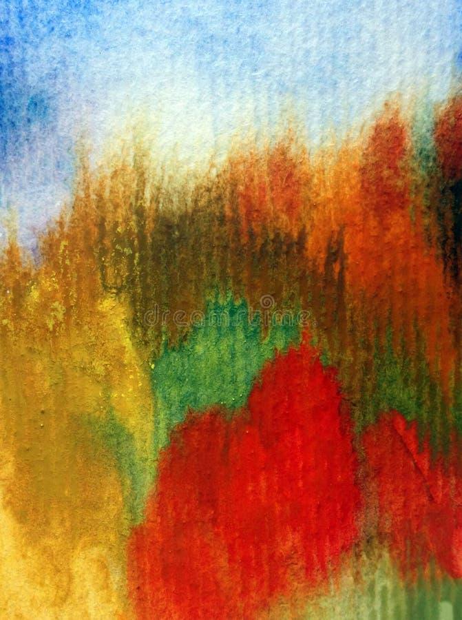 Lavage texturisé coloré brun jaune-orange bleu d'automne d'abrégé sur fond d'art d'aquarelle d'imagination de forêt chaude de pay illustration stock