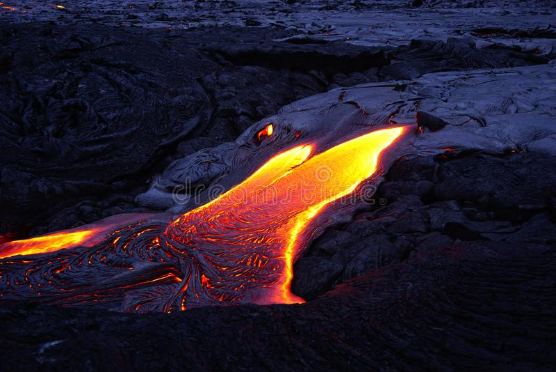 Lavagebied met nieuwe lava in Hawaï royalty-vrije stock foto's