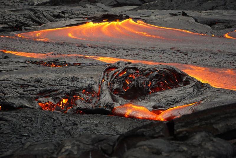 Lavagebied met nieuwe lava in Hawa? royalty-vrije stock afbeelding