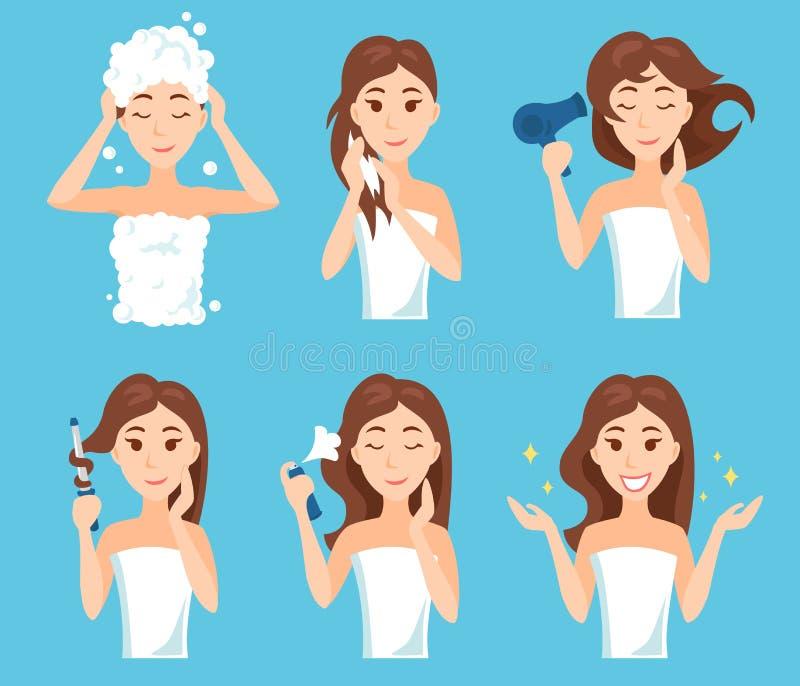 A lavagem atrativa da jovem mulher, cuidado e denomina seu cabelo ilustração stock