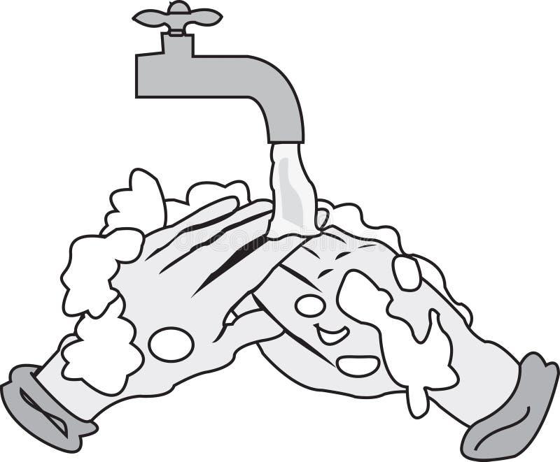 Lavagem das mãos ilustração do vetor