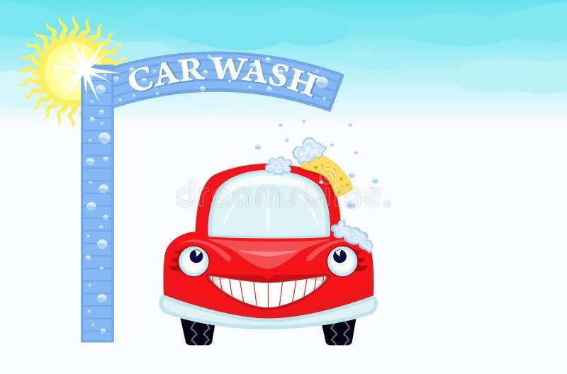 Lavagem de carro com automóvel feliz ilustração stock