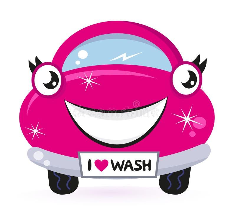 Lavagem de carro cor-de-rosa bonito ilustração do vetor