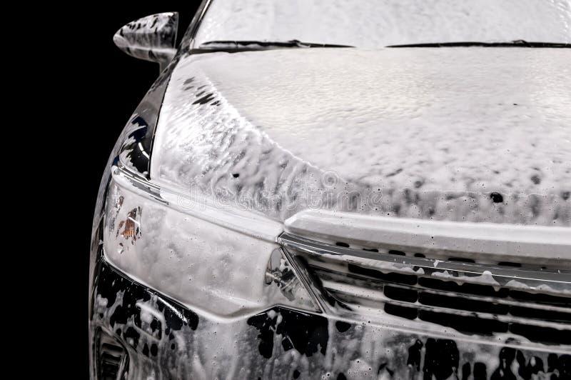 Lavagem de carros com sabão fotografia de stock