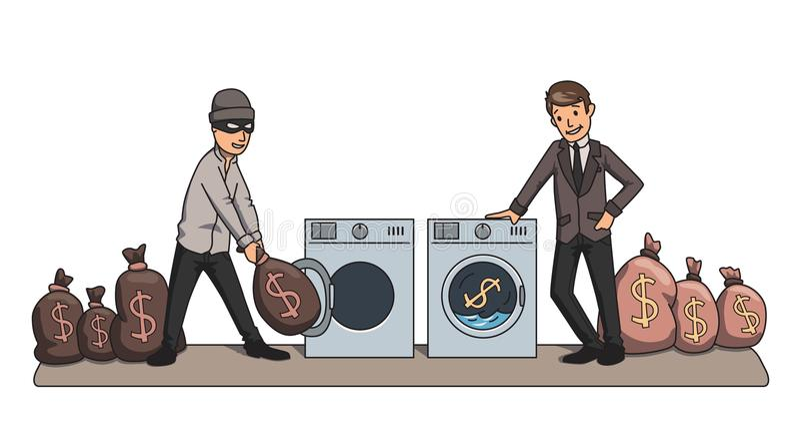 Lavagem de dinheiro Criminoso e dinheiro de lavagem do homem de negócios nas máquinas ilustração do vetor do conceito ilustração royalty free