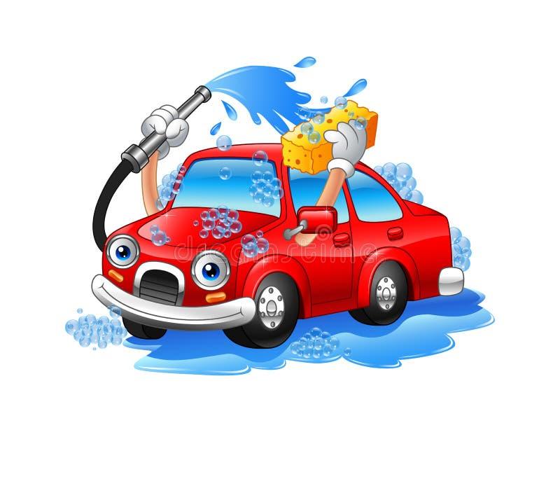 Lavagem engraçada do carro dos desenhos animados com tubulação e esponja de água ilustração do vetor