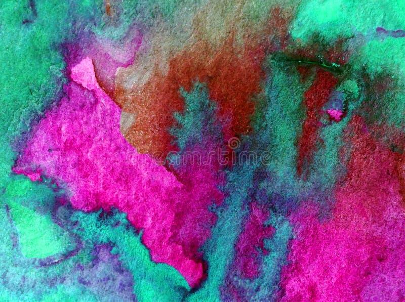 Lavagem molhada textured colorida da água da costa de mar da superfície do sumário do fundo da arte da aquarela borrada ilustração stock