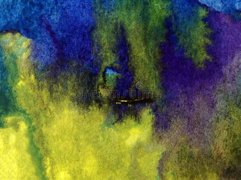 Lavagem molhada textured colorida da água da costa de mar da superfície do sumário do fundo da arte da aquarela borrada ilustração do vetor