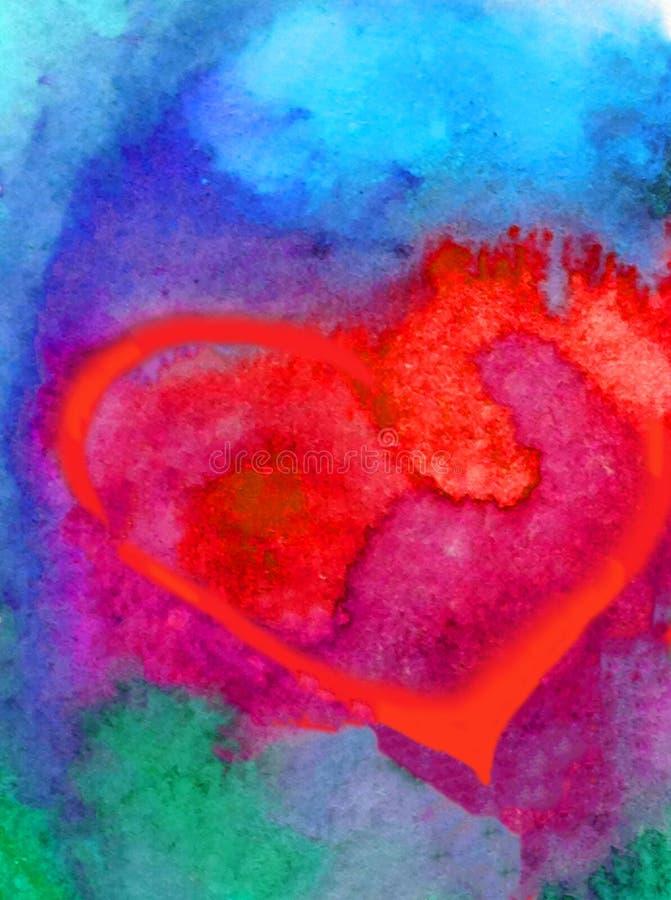 Lavaggio bagnato strutturato variopinto di superficie romantico di bello amore del cuore dell'estratto del fondo di arte dell'acq fotografia stock