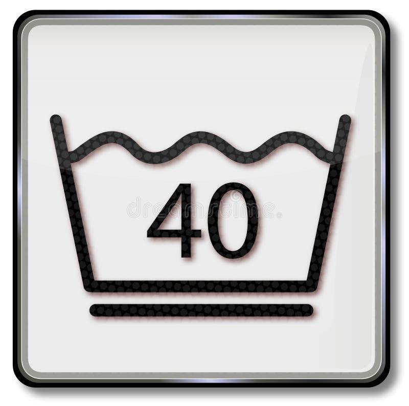 Lavaggio delicato del lavaggio di simbolo della lavanderia centigrado 40 gradi illustrazione di stock