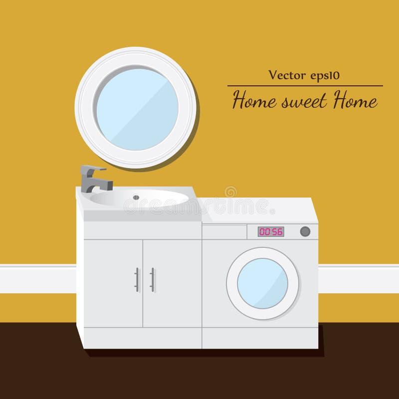 Lavaggio e lavandino interiore 3D Fondo giallo illustrazione di stock
