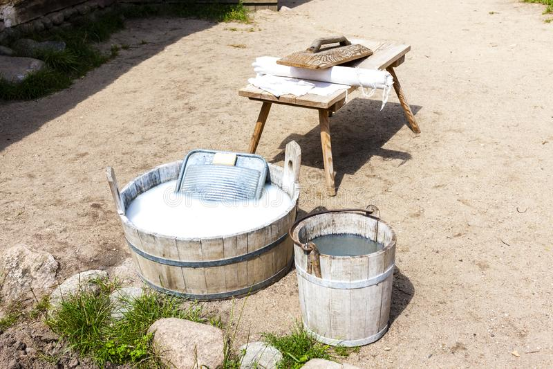 lavaggio, parco etnografico di Kaszubski nel parco Krajobrazo di Wdzydzki fotografie stock libere da diritti