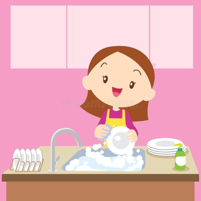 Lavaggio sveglio del piatto della ragazza royalty illustrazione gratis