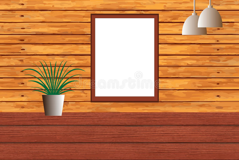 Lavagna in bianco su Wal di legno fotografie stock libere da diritti