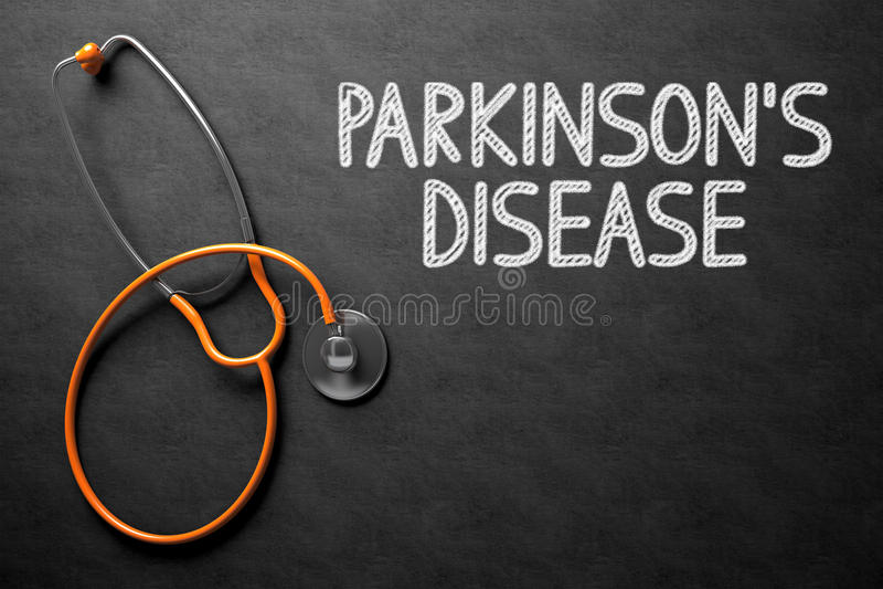 Lavagna con il concetto di malattia di Parkinsons illustrazione 3D fotografia stock