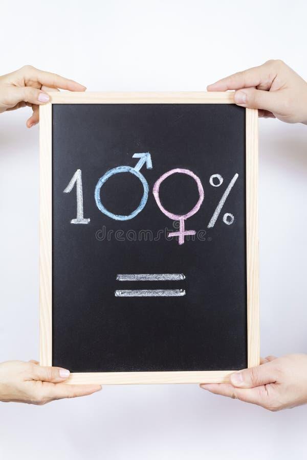 Lavagna con il simbolo di uguaglianza fotografia stock