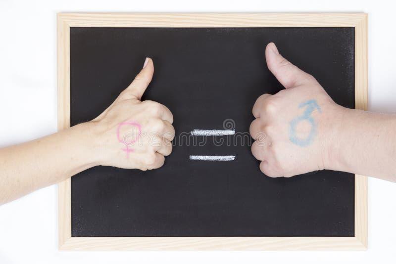 Lavagna con il simbolo di uguaglianza fotografia stock libera da diritti