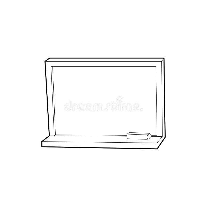 Lavagna con l'icona del gesso, stile del profilo fotografia stock libera da diritti