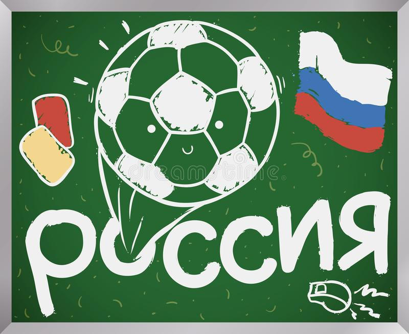Lavagna con le carte della palla, del fischio e di pena per il campionato di calcio, illustrazione di vettore illustrazione di stock