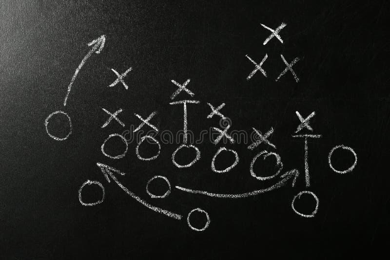 Lavagna con lo schema della partita di football americano Gioco del gruppo royalty illustrazione gratis