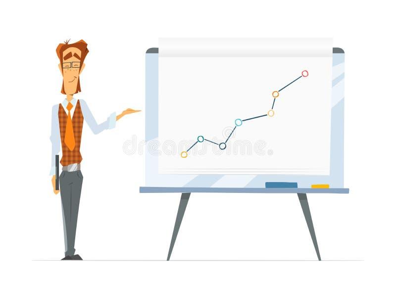 Lavagna dell'uomo dell'ufficio e del cartone del vibrazione-grafico illustrazione di stock