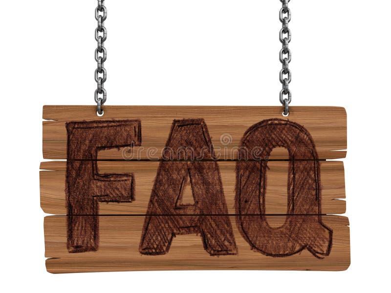 Lavagna di legno con il FAQ (percorso di ritaglio incluso) illustrazione di stock