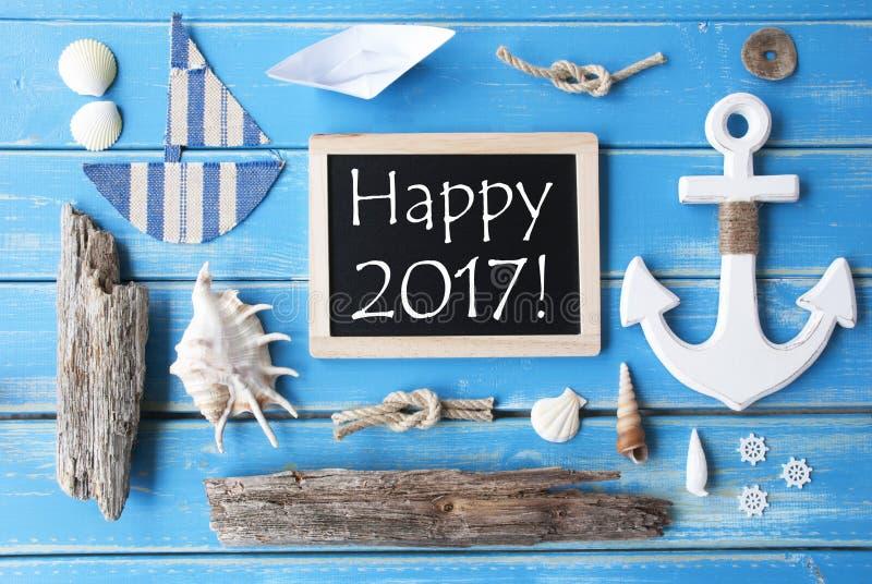 Lavagna di Nautic e testo 2017 felice fotografie stock