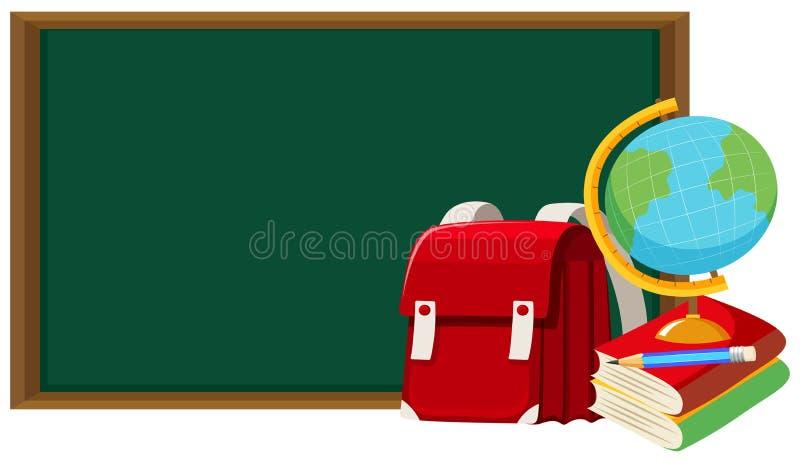 Lavagna ed altri oggetti della scuola illustrazione di stock