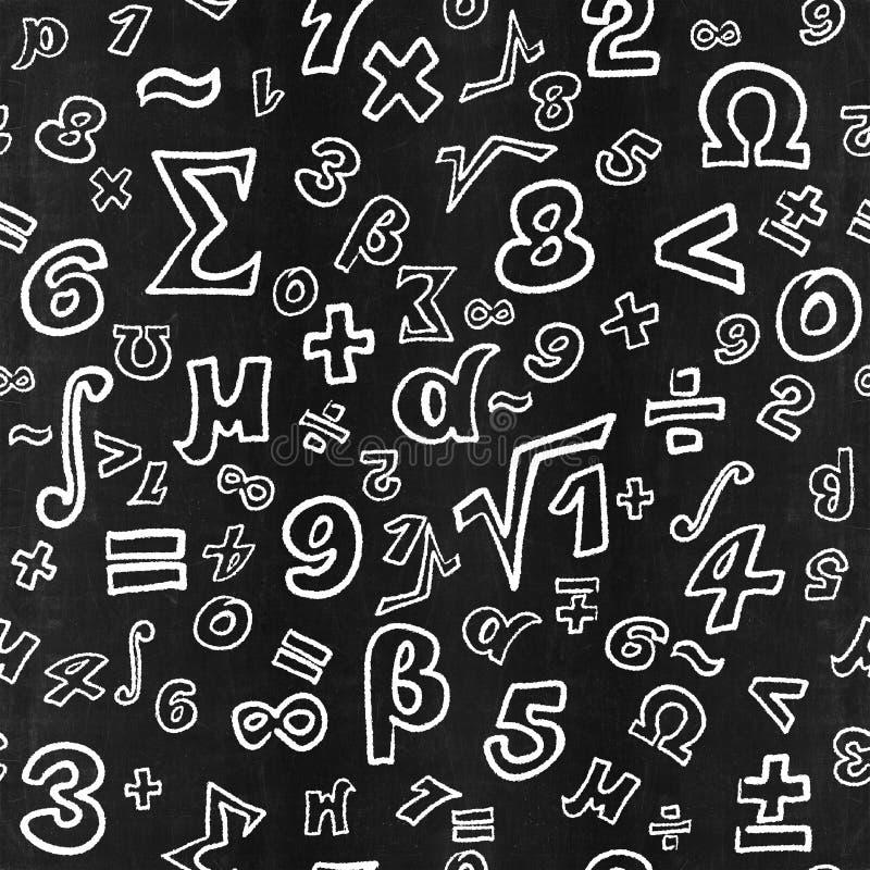 Lavagna iscritta da gesso bianco con i simboli matematici illustrazione vettoriale