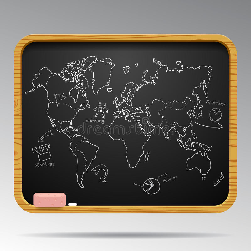 Lavagna isolata con le icone disegnate a mano della mappa e di affari di mondo illustrazione vettoriale