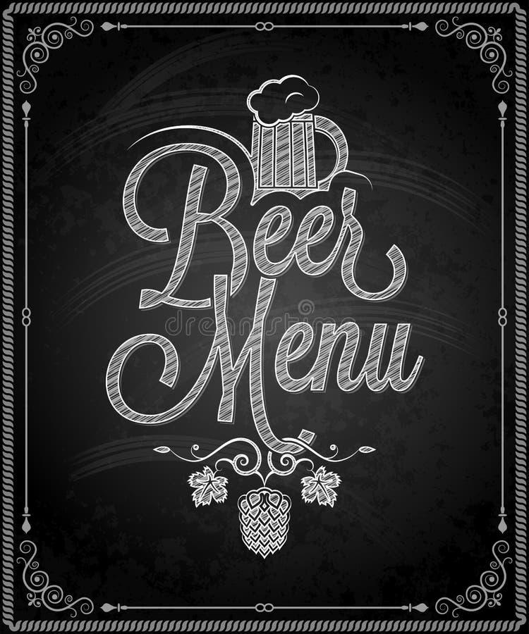 Lavagna - menu della birra della struttura illustrazione di stock