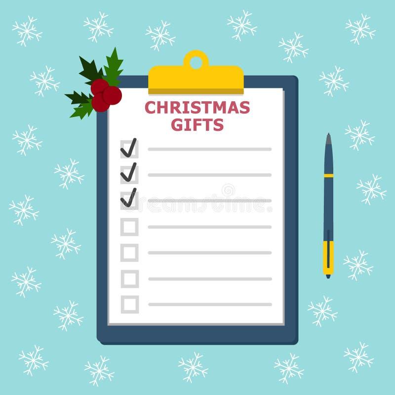 Lavagna per appunti con il concetto della lista di regali di Natale della lista di controllo dei regali Concetto di compera di Na illustrazione vettoriale