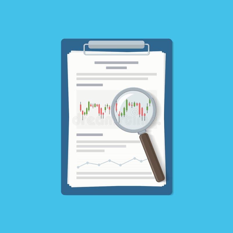 Lavagna per appunti con il rapporto finanziario e la lente d'ingrandimento Analisi dei dati, lavoro di ufficio, ricerca finanziar illustrazione vettoriale