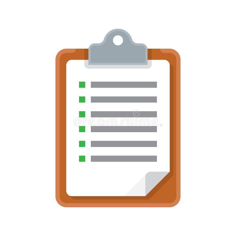 Lavagna per appunti con l'icona di vettore della lista di controllo illustrazione vettoriale