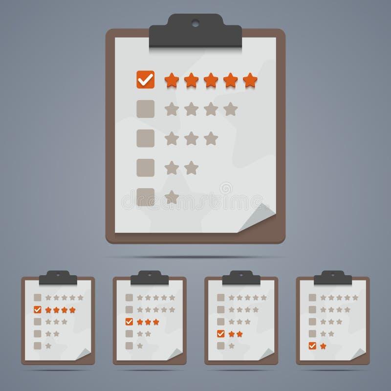 Lavagna per appunti con le stelle e le caselle di controllo di valutazione royalty illustrazione gratis
