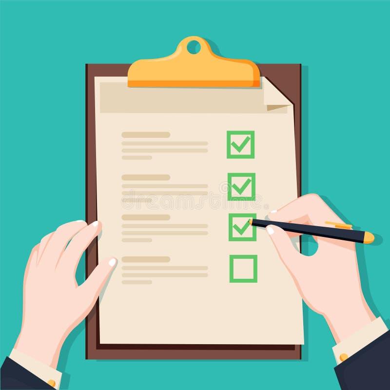 Lavagna per appunti della lista di controllo Lista di controllo e matita umane della tenuta Questionario, indagine, illustrazione illustrazione di stock