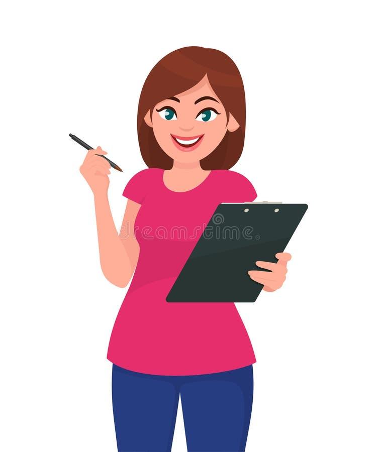 Lavagna per appunti della tenuta della giovane donna e penna di rappresentazione illustrazione vettoriale