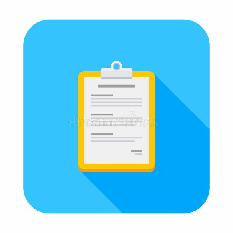 Lavagna per appunti, documento, icona isometrica e piana illustrazione di stock