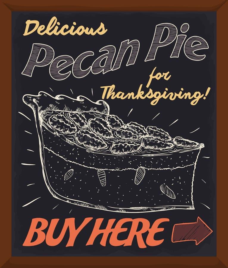 Lavagna promozionale che promuove crostata di noci di pecan fresca deliziosa per il giorno di ringraziamento, illustrazione di ve illustrazione vettoriale