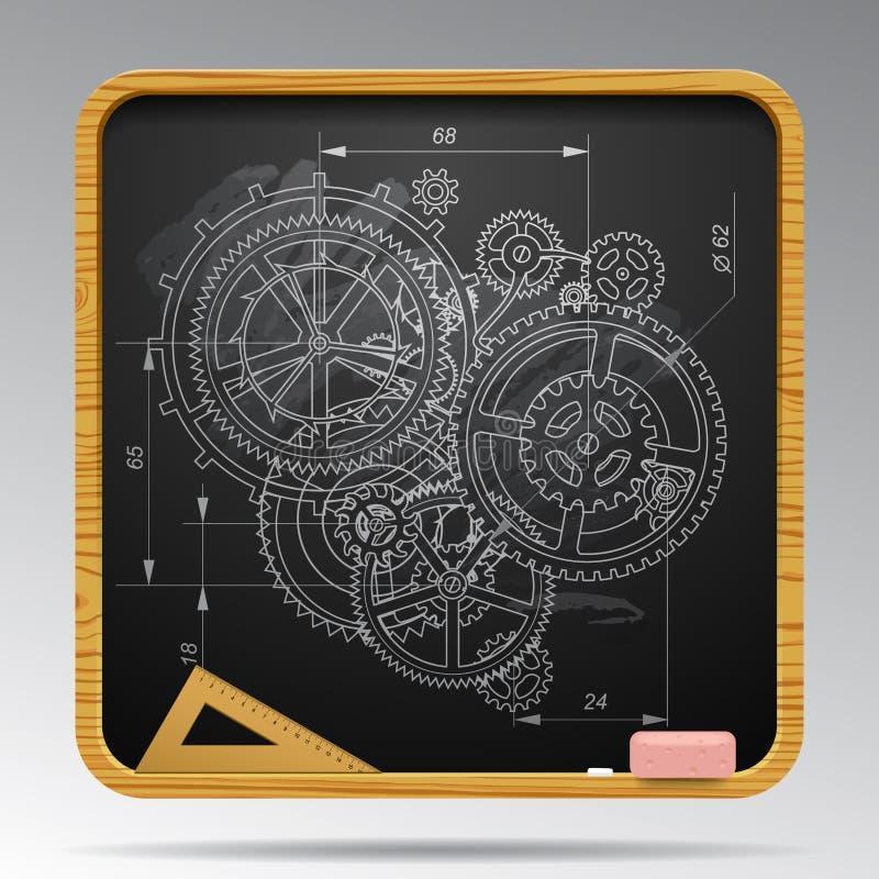 Lavagna quadrata con il disegno di gesso delle ruote di ingranaggio royalty illustrazione gratis
