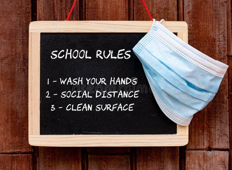 Lavagna scolastica con maschera di protezione e testo delle regole della scuola immagini stock libere da diritti