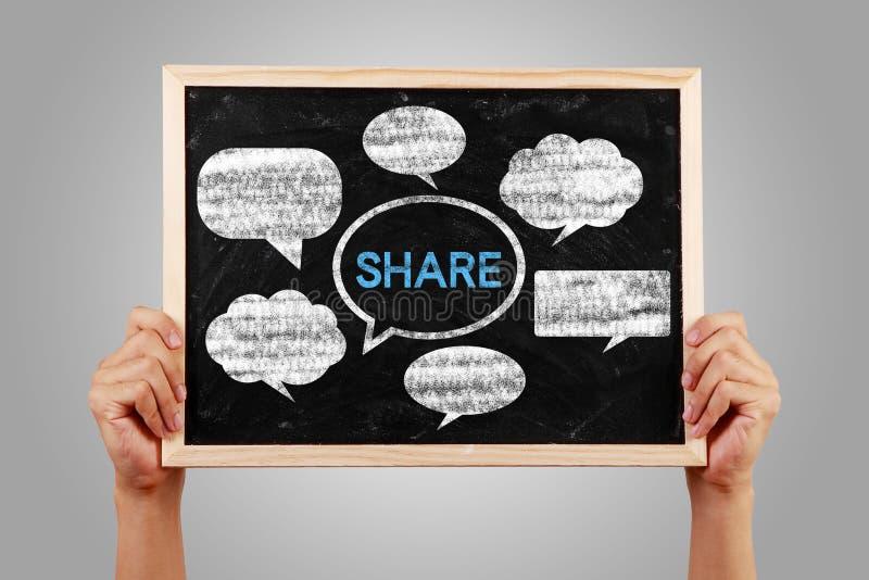 Lavagna sociale di concetto di media con le mani immagini stock libere da diritti