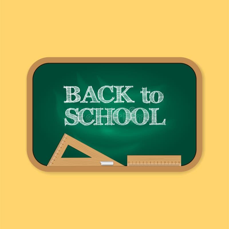 Lavagna verde con di nuovo al testo del gesso della scuola con il righello di legno del triangolo illustrazione vettoriale