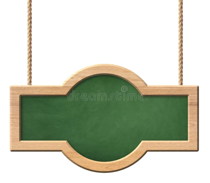Lavagna verde oblunga con la struttura di legno luminosa con forma arrotondata ed appendere sulle corde illustrazione vettoriale