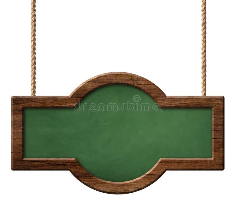 Lavagna verde oblunga con la struttura di legno scura con forma arrotondata ed appendere sulle corde royalty illustrazione gratis